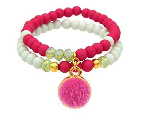 Damen Armband 2er Set Acrylperlen & Facettperlen Pink + Mint Grün 6mm breit Länge flexibel Elastikband mit Fell Anhänger Fuchsia Perlenarmband Armbänder Gold nickelfrei