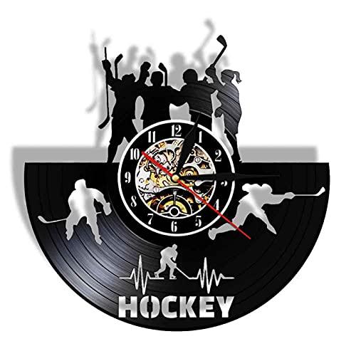 NIGU Reloj vintage Deportes Baloncesto Hockey Hielo Fútbol Vinilo Record Reloj de Pared Grande Para Niño Habitación Luz de Noche con Control Remoto Decoración Registros