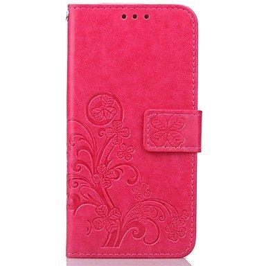 Handy schützen, Klee Leder-Muster Qualitäts-PU-Leder-Mappenkasten mit Hand Linie für Samsung s7 ~ s3 Samsung (Farbe : Beere, Kompatible Modellen : Galaxy S4 Mini)