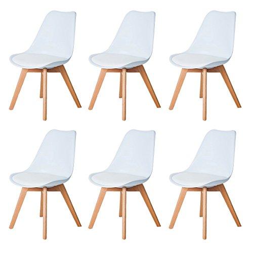 DORAFAIR Pack de 6 Silla de Oficina Silla escandinava, con Las piernas de Madera de Haya Maciza y cojín cómoda,Blanco