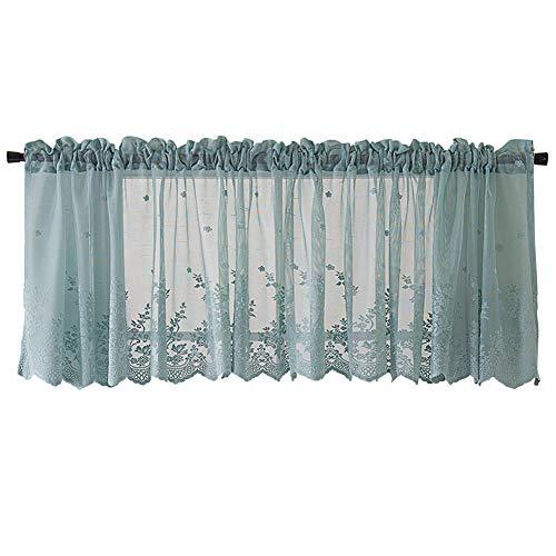 SimidunEUR Halbtransparent Besticke Blumen Scheibengardine Küchen Vorhang Tür Gardine,Blau,74 * 90 cm