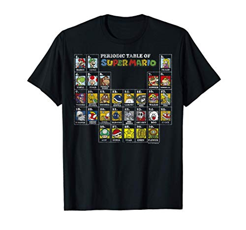 Nintendo Periodic Table of Super Mario T-shirt, 5 Colors in Adult and Child Sizes