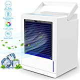 infray Portable Air Cooler, 5000mAh USB Rechargeable Personal Air Conditioner 3 Speeds Space Cooler, 3 in 1 Mini 90° Auto Oscillating Evaporative Cooler, Humidifier, Purifier with 7 Colors LED Light
