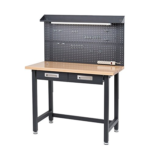 Seville Classics Lighted Hardwood Top Metal Workbench with drawers