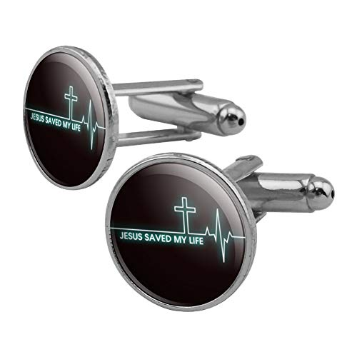 GRAPHICS & MORE Jesus Saved My Life EKG Heart Rate Pulse Religious Christian Round Cufflink Set Silver Color