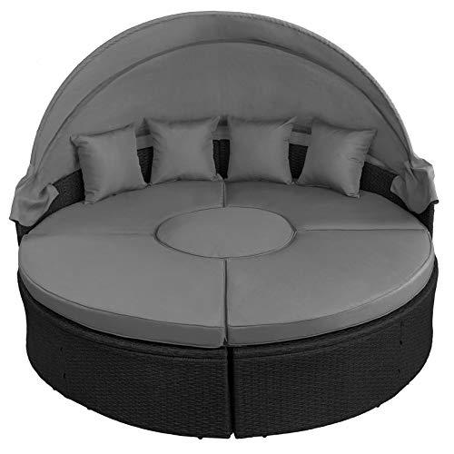 BB Sport 13-teilige Polyrattan Lounge Muschel Sonneninsel Sonnendach Klappbar Zierkissen Auflagen 10 cm Dicke, Farbe:Titan-Schwarz/Kieselstrand - 3