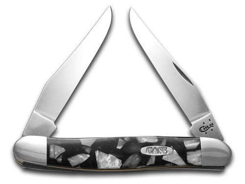 CASE XX Chipped Black Pearl and White Pearl Corelon Muskrat Stainless Pocket Knife Knives