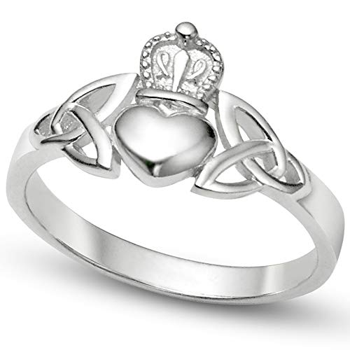 Metal Factory Sz 4 Sterling Silver Irish Claddagh Friendship and Love Band Celtic Ring w/Trinity Symbols