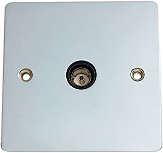 Merriway BH02967 Flat TV Socket with Black Insert - Bright Chrome Plated
