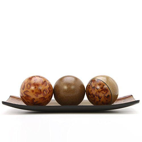 Hosley Brown Decorative Bowl Tray and Orb Ball Set 15 Inches Long Burlwood Style Finish Ideal Gift for Weddings Party Spa Reiki Meditation Settings O3