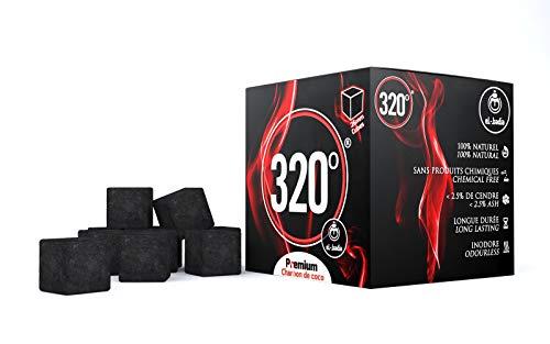 320° Carbone naturale di noce di cocco (26mm Cubes) per barbecue e narghilè, shisha, 1 kg