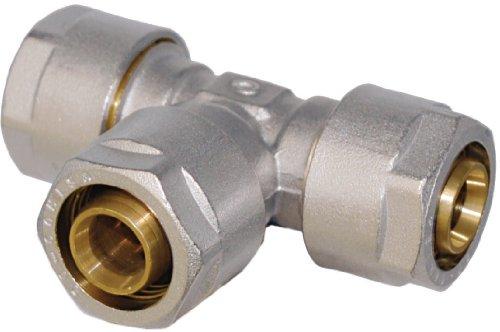 WIROFLEX® | T-Stück inklusive Adapter | Klemmring | Komplettlösung | Schraubsystem | Fitting | 16 x 16 x 16 mm | Für Mehrschichtverbundrohr