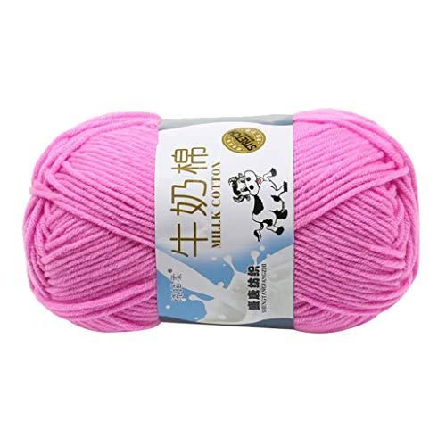 FeiliandaJJ 50g 6 Farben Wolle Zum Stricken & Häkeln Handstrickgarn,Weich Babywolle Milch Baumwolle,Einfarbig Super Weich Wolle Perfekt für Hüte Pullover Schal (C)