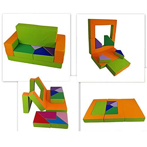barabike KG04B Spielsofa 4in1 Kindersofa Puzzle Kinderzimmer Kinderzimmersofa Softsofa Kindermöbel