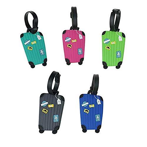 5 Stück Kofferanhänger mit Namensschild Bunt Flugzeug Gepäckanhänger aus Silikon Luggage Tag Gegen Kofferanhänger Koffer- Tags mit Namensschild Adressschild Gepäckanhänger 10cm*6cm(5-Colorful)