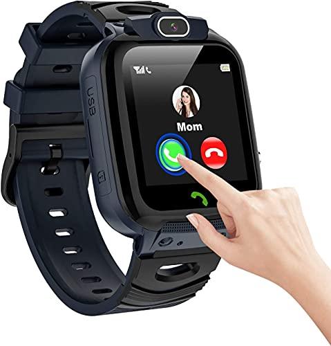 Vannico Smartwatch Niños, Grabar Video 14 Juegos MP3 Música Reloj Inteligente Niño SOS Llamada de Pantalla Táctil de 2 Vías Cámara Temporizador, Reloj Niños Niña de 4-12 Años