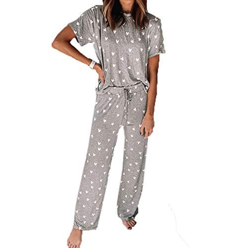Traje De Pijama De Dos Piezas con Estampado De Nuevas Mujeres Ropa De Hogar