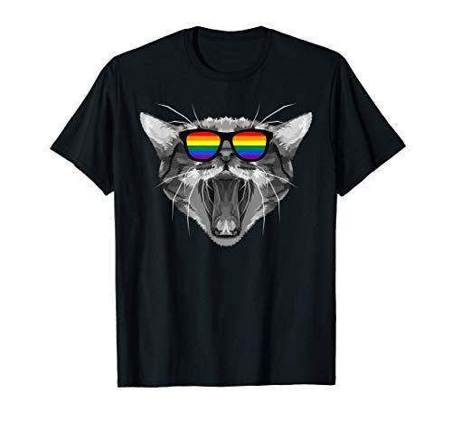 Bandera arcoíris LGBTQ en gafas de sol de gato LGBT Amor Camiseta