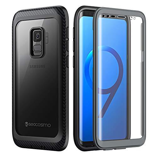 seacosmo Samsung S9 fodral, stötsäkert skydd [med skärmskydd] heltäckande skyddande klar stötfångare transparent 360° skydd telefonfodral för Samsung Galaxy S9 – grå/svart