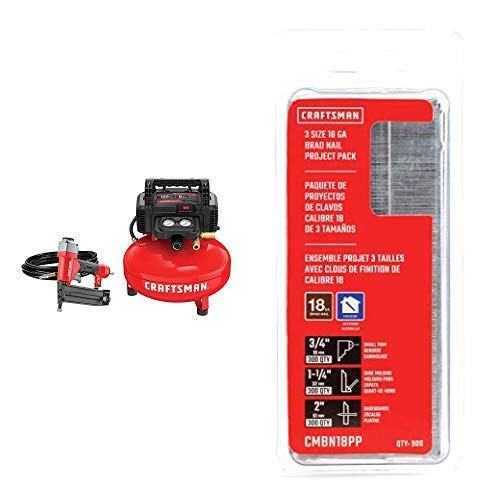 Buy CRAFTSMAN Air Compressor Combo Kit with Brad Nails Project Pack (CMEC1KIT18 & CMBN18PP)