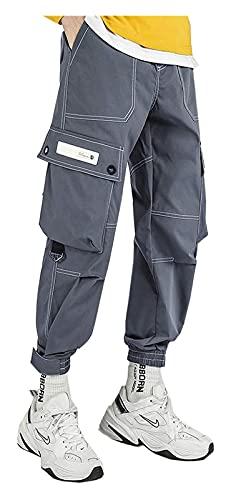 DOUYUAN Pantalón Cargo de Punk Pant Hombres Pantalones Largos Pantalón Pantalón Harem Casual Pasos Pantalones Hombre Al Aire Libre Senderismo Trekking (Color : Gray, Size : L)