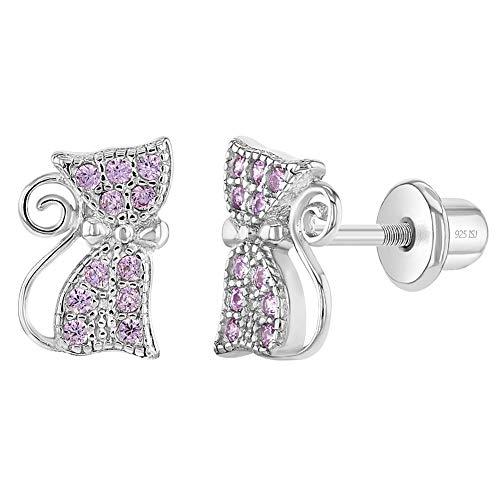 In Season Jewelry Plata Fina 925 Pendientes con Cierre de Rosca en Forma de Gato Rosa con Circonita...