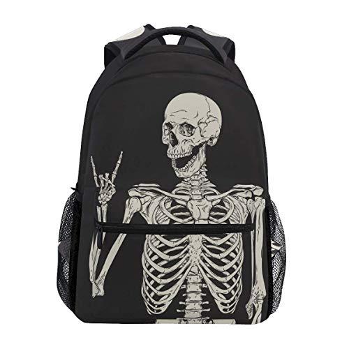 Mochilas de rock and roll Skull Funny Skeleton Laptop Book Bag Casual Extra Durable Mochila ligera de viaje Deportes Day Pack para hombres y mujeres