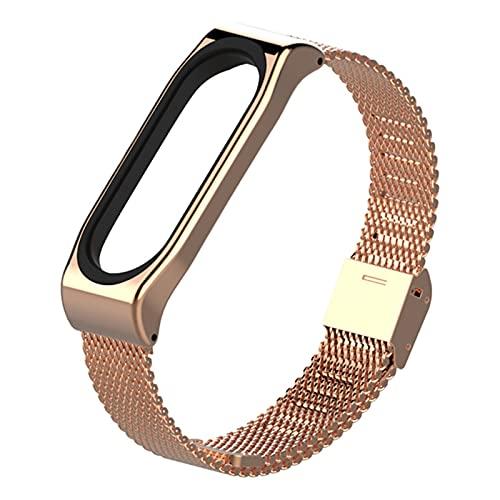 Reloj Band para MI Band 3 4 Reemplazo de acero inoxidable Smart Watch Correas de muñeca *21798 (Band Color : Rose Gold, Size : For Mi Band 4)