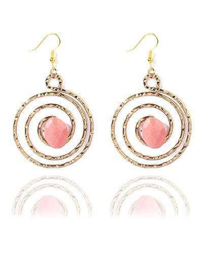 VintFlea Pendientes colgantes ovalados de jade con piedras preciosas auténticas facetadas para las mujeres