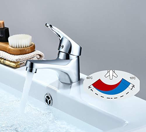 Grifo de lavabo Latón, Agua Fría y Caliente,Grifo Baño Clásico,Cartucho 40 mm.