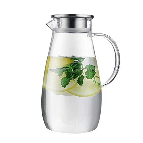 HJYSQX Jarra de Vidrio de Tetera Taza de Agua fría Botella de Agua hirviendo de Gran Capacidad para el hogar Vaso de Jugo de Vidrio sin Plomo Resistente al Calor a Prueba de explosión Jarras y jarr