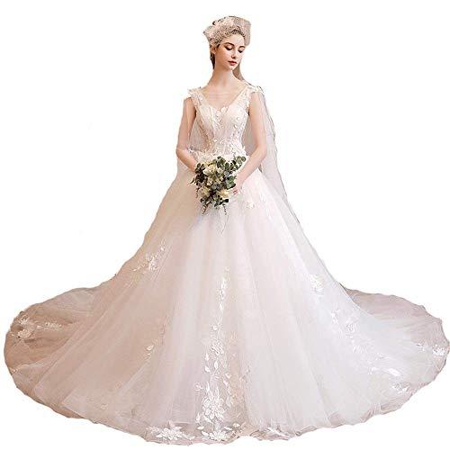 Inicio Accesorios Vestido elegante Mujer Sin mangas Apliques florales Malla Tul Tren de la catedral Vestido de novia Vestido sin espalda Vestido de novia moderno Vestido de noche formal Vestido de
