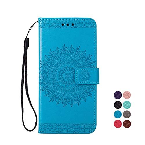 KM-Panda Portafoglio Custodia Cover Huawei P8 Lite 2017 in Pelle a Libro Flip Case Mandala Fiore Protettiva Porta Carte di Credito SiliconeBumper Antiurto - Blu