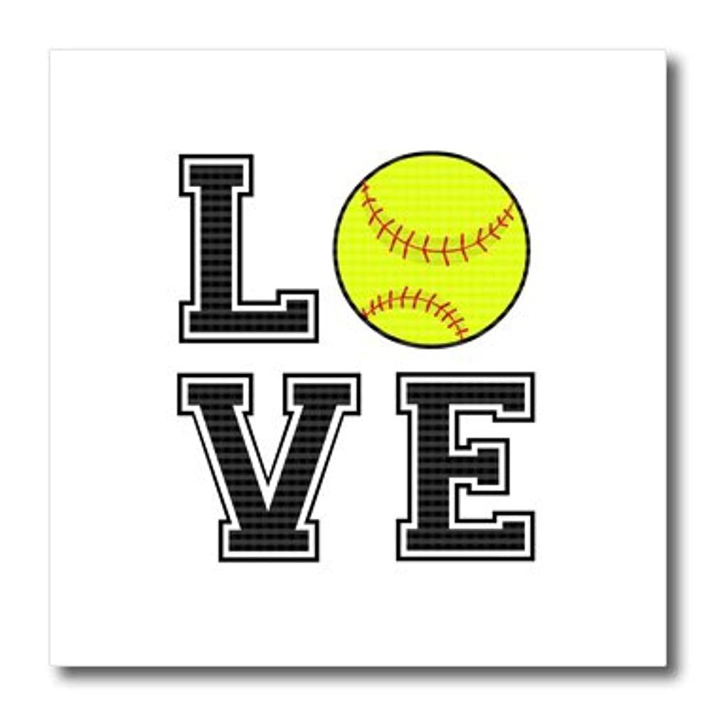 3dRose Print of Love Softball-Iron on Heat Transfer, 10 by 10