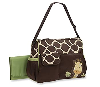 Baby Boom Animal Print Collection - Forest Giraffe Print Diaper Duffel Bag - Large Roomy Bag with Wipeable Diaper Changing Pad - Great for Overnights