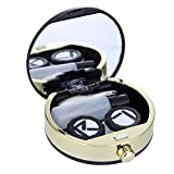 Contact Lens Travel Case, Contact Lens Box, Mini Contact Lens Travel Kit Holder Eye Care Lenses Case Set Cute Lovely Travel Kit Box with Mirror (Black)