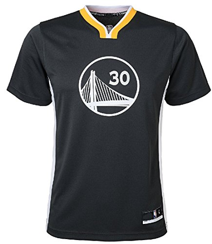 Outerstuff Stephen Curry Youth Golden State Warriors Black Short Sleeve Replica Basketball Jersey (M=10-12)