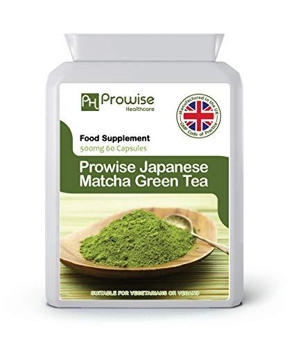 Te verde matcha japones - 500 mg 60 capsulas - Fabricado en el Reino Unido | Estandares GMP de Prowise Healthcare: aptos para vegetarianos y veganos