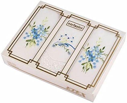 1box Andom Mix Ladies Embroidered Handkerchief/Gift Box Set, Women Children Handkerchiefs, Fashion Accessories