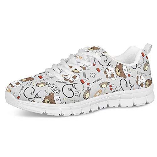 POLERO Zapatos Deportivos para Mujer, Zapatillas Planas con diseño de Osos, Zapatillas...