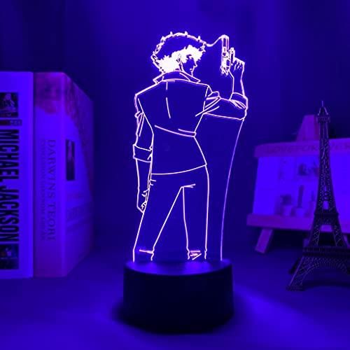 Cowboy Bebop Spike Spiegel Luz de noche Led para decoración de dormitorio Luz de noche Regalo de cumpleaños Anime Lámpara 3d Spike Cowboy Bebop