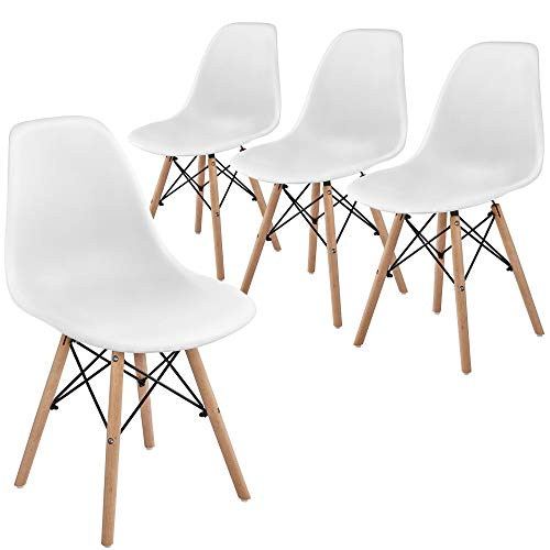 Yaheetech 4pcs White Dining Room Chairs Modern Tulip Chair with Sturdy Beech Wooden Legs for Kitchen Cafe