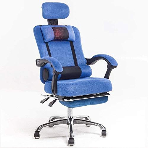 Sessel GSN Stuhl-Ineinander greifen High Back Swivel Bürostuhl Breathable Ineinander greifen Multifunktionskopfstütze Doppel Kissen beiläufige und 150kg Bequeme Liege Bearing Gewicht (Color : Blue)