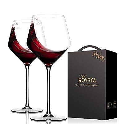 Crystal Red Wine Glasses,Hand Blown Burgundy Gl...