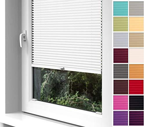 Home-Vision® Premium Plissee zum Anschrauben in der Glasleiste Innenrahmen (Weiß, B85cm x H200cm) Blickdicht Plissee Jalousie mit Halterungen zum Bohren, Sonnenschutzrollo