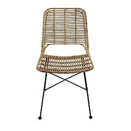 animal-design Chaise en rotin Lilly – Design moderne – Pour salle à manger, cuisine, bistro, balcon, terrasse – Marron…