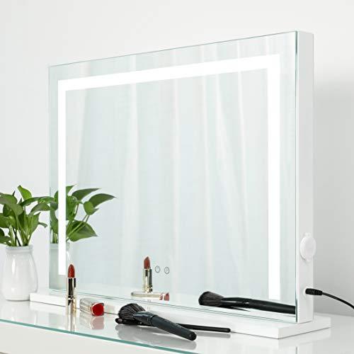 iCREAT Hollywood Beleuchteter Schminkspiegel mit Licht 58X43 cm Dimmbarer LED-Lichtstreifen Kosmetikspiegel für Make-up Hauptpflege 3 verfügbare Lichtfarben Memory Funktion Stromlieferung für Handy