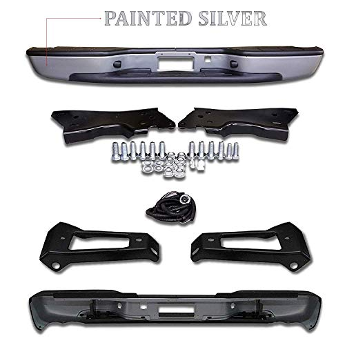 Make Auto Parts Manufacturing Rear Silver Step Bumper Assembly For Chevrolet Silverado 1999-2006 / GMC Sierra 1500 1999-2006 NOT For HD Models - GM1103124