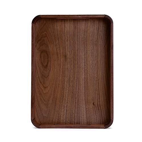 Decorativas Bandejas Bandeja nórdica de nuez rectangular creativo de madera taza de té de madera bandeja de almacenamiento de vajilla placa placa placa de cena pequeño para Cenas, Té, Bar, Desayuno, C