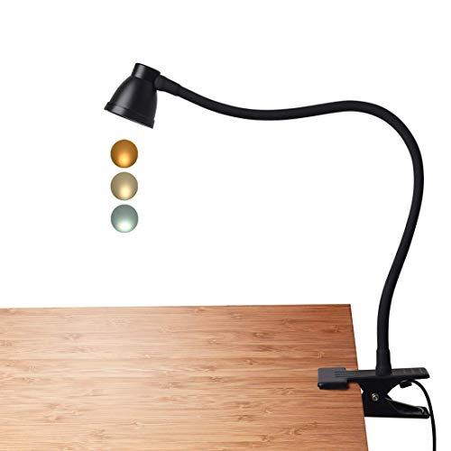 OneFire bureaulamp met led-klem, clip op leeslamp, dimbare lamp voor de oogverzorging, kleurtemperatuur instelbaar, voor het lezen van de studie